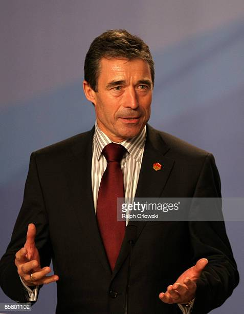 Danish Prime Minister Anders Fogh Rasmussen speaks during the NATO summit closing press conference on April 4, 2009 in Strasbourg, France. NATO...