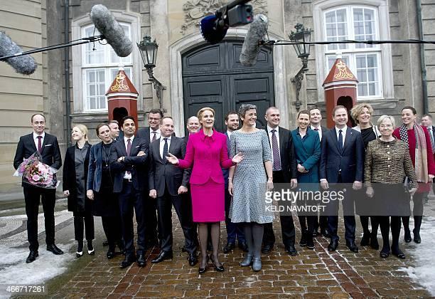 Danish Prime Minister Helle ThorningSchmidt presents her new government at Amalienborg in Copenhagen on February 3 2014 From left Minister for...