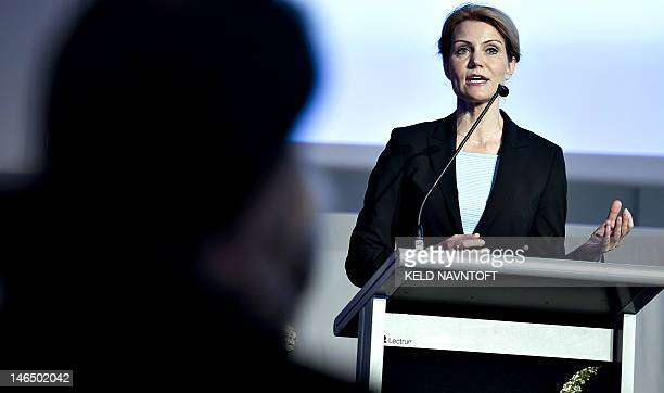 Danish Prime Minister Helle ThorningSchmidt speaks during the Baltic Development Forum summit on June 18 2012 in Copenhagen The event which runs from...