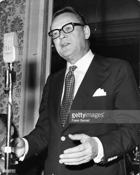 Danish Prime Minister Jens Otto Krag gives a press conference at the Hyde Park Hotel in London.