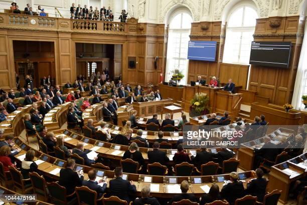 Danish Prime Minister Lars Loekke Rasmussen holds the opening speech of the parliament in Copenhagen Denmark on October 2 2018 / Denmark OUT