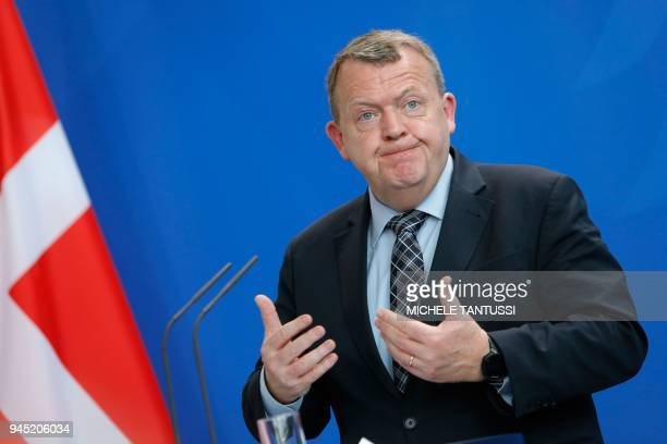 Danish Prime Minister Lars Lokke Rasmussen gestures during a joint press conference with the German Chancellor on April 12, 2018 at the Chancellery...