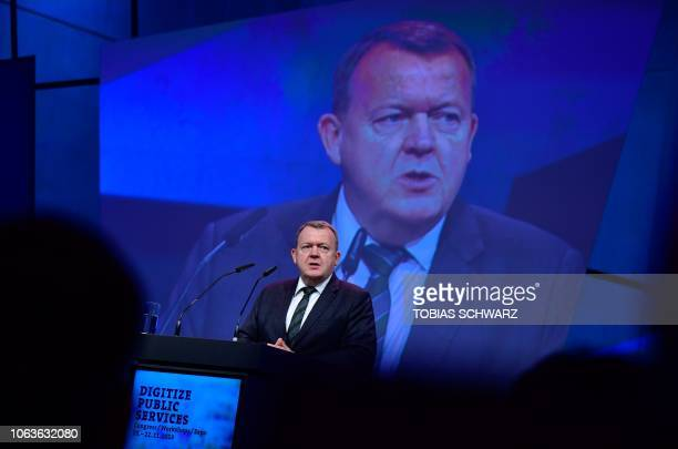 Danish Prime Minister Lars Lokke Rasmussen gives a speech to open the Smart Country Convention on the digitization of public services on November 20,...