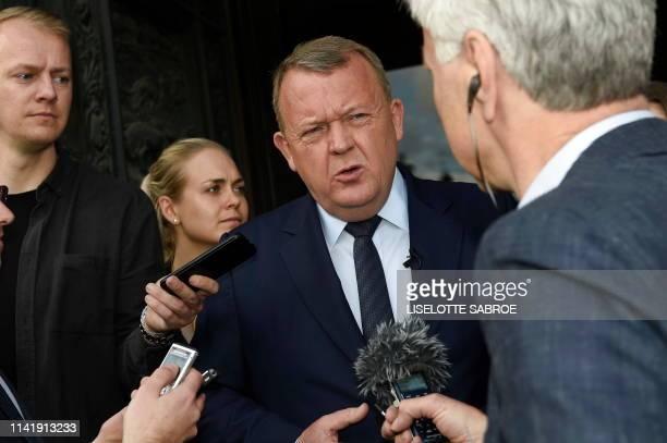 Danish Prime Minister Lars Lokke Rasmussen speaks with journalists in Copenhagen on May 7, 2019. - Rasmussen called a general election for June 5,...