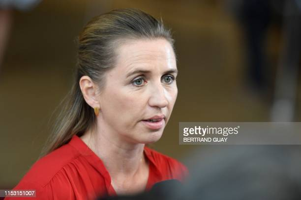 Danish Prime Minister Mette Frederiksen arrives for a European Union leaders summit in Brussels, on July 2, 2019. - European Union leaders meet in...