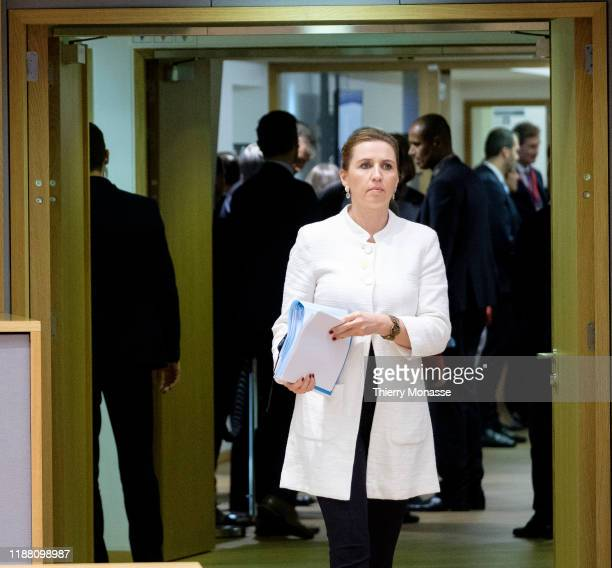 Danish Prime Minister Mette Frederiksen arrives for the first of a twoday summit of European Union leaders on December 12 2019 in Brussels Belgium...
