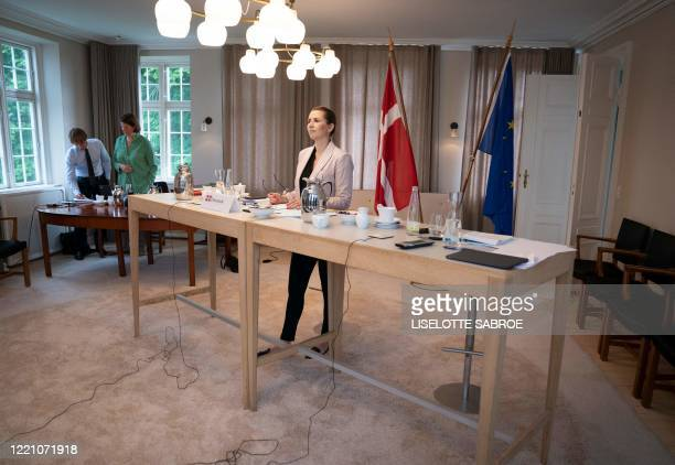 Danish Prime Minister Mette Frederiksen holds a video meeting with her colleagues in the EU at Marienborg north of Copenhagen on Friday, June 19,...