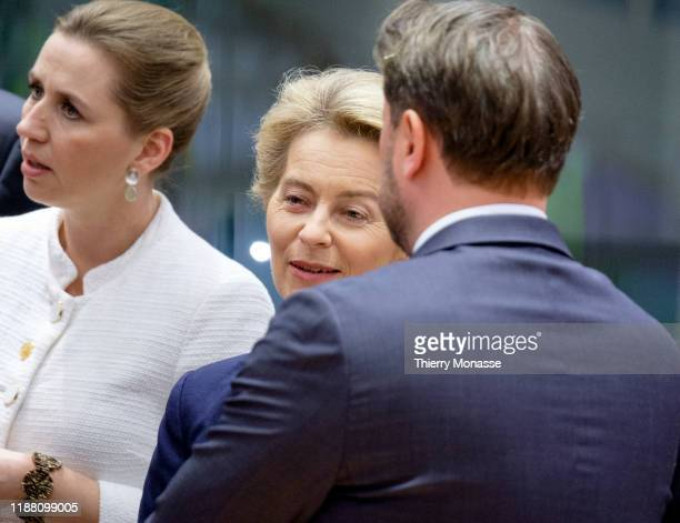 Danish Prime Minister Mette Frederiksen is talking with the President of the European Commission Ursula von der Leyen and the Luxembourg Prime...