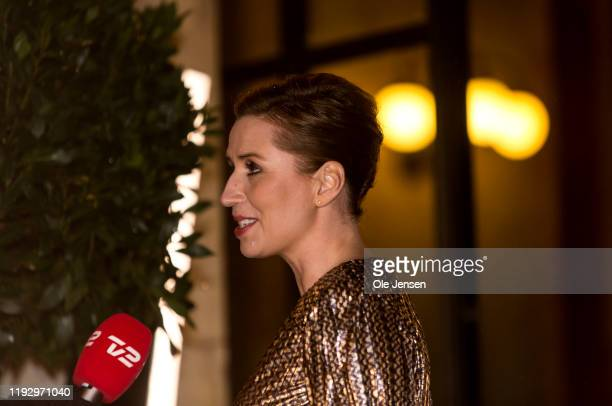 Danish Prime Minister Mette Frederiksen speaks to the press at arival to the Royal Theatre where she attends a Gala Performance celebrating the...