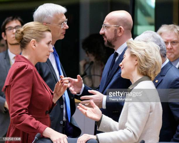 Danish Prime Minister Mette Frederiksen talks with the Latvian Prime Minister Krisjanis Karins the President of the European Council Charles Michel...