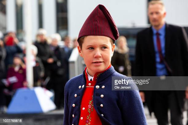 Danish Prince Christian during the Crown Prince familys visit to Klaksvig on the second day of their official visit to the Faroe Islands on August 24...