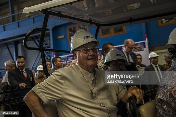 Danish Prince Consort Henrik takes a tour of PT PAL shipyard in Surabaya East Java province on October 24 2015 The prince and his wife Queen...