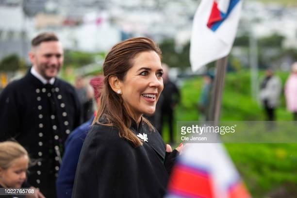 Danish Prince Crown Princess Mary during the Crown Prince familys visit to Klaksvig on the second day of their official visit to the Faroe Islands on...