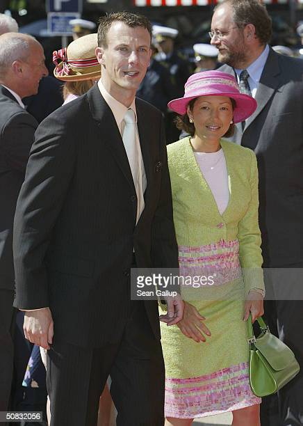 Danish Prince Joachim brother of Crown Prince Frederik and his wife Princess Alexandra arrive at the Danish Parliament May 13 2004 in Copenhagen...