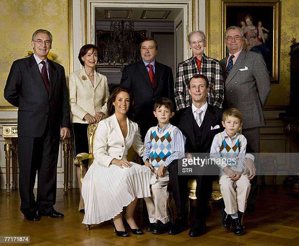 Danish Prince Joachim his children from his first marriage with Alexandra Manley Prince Nikolai and Prince Felix pose with Marie Cavallier and their...