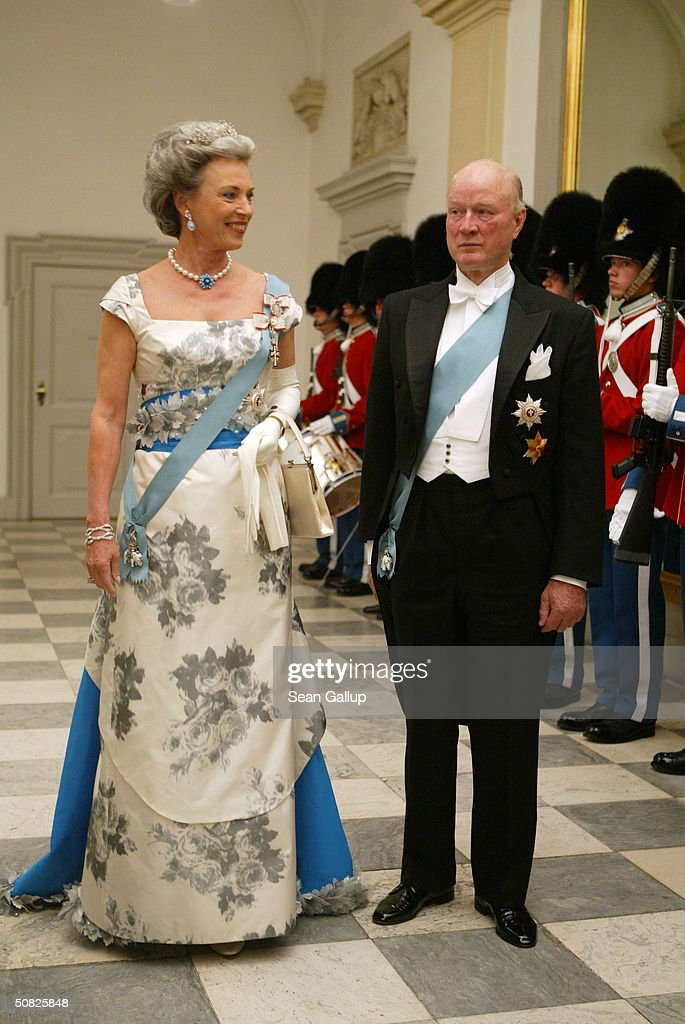 Danish Princess Benedikte, sister of Queen Margrethe II, and her husband Prince Richard of Sayn-Wittgenstein-Berleburg attend a celebratory dinner at Christiansborg Palace on May 11, 2004 in honor of the upcoming wedding of Crown Prince Frederik to Miss Mary Elizabeth Donaldson on May 14th in Copenhagen, Denmark.