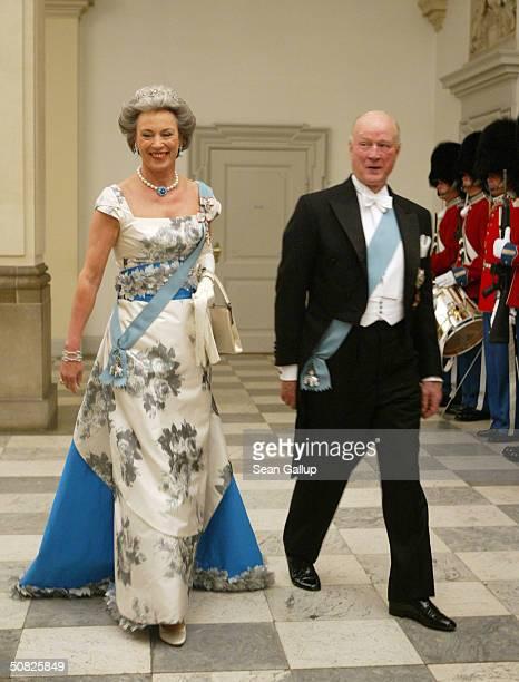 Danish Princess Benedikte sister of Queen Margrethe II and her husband Prince Richard of SaynWittgensteinBerleburg attend a celebratory dinner at...