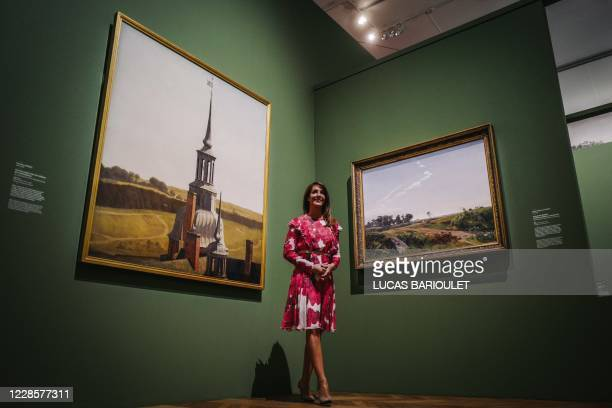 Danish princess Marie Cavallier wears a protective facemask as she visits the exhibition The golden age of Danish paintings at the Petit Palais in...