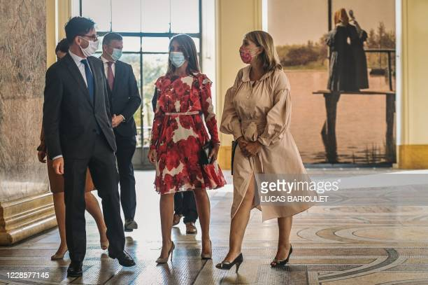 Danish princess Marie Cavallier wears a protective facemasks upon her arrival to visit the exhibition The golden age of Danish paintings at the Petit...