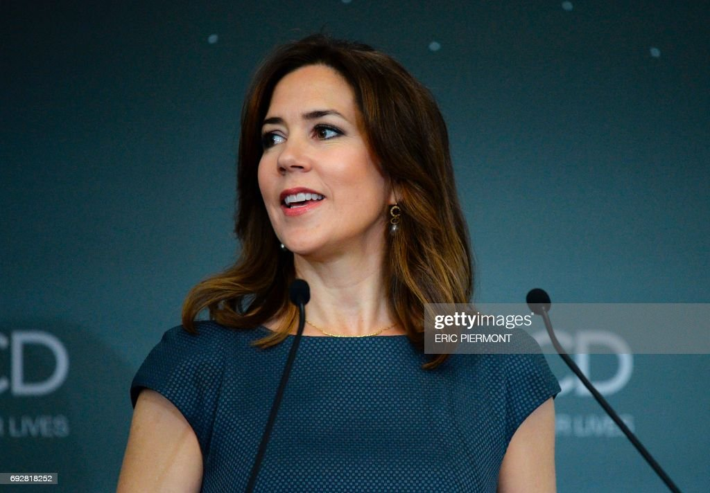 Danish Princess Mary addresses the opening of the OECD Forum on June 6, 2017 at the OECD headquarters in Paris. /