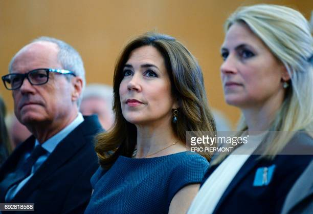 Danish Princess Mary listens to OECD Secretary General's address while attending the OECD Forum 2017 opening on June 6 2017 at the OECD headquarters...