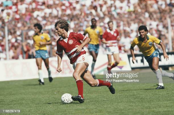 Danish professional footballer Michael Laudrup forward with Barcelona pictured in action for Denmark in the Centenary Tournament match between...