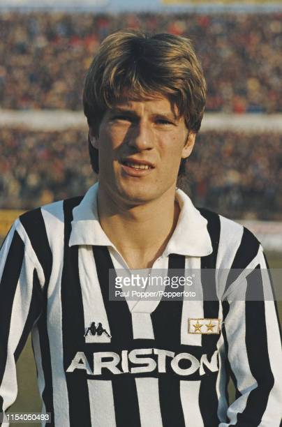 Danish professional footballer Michael Laudrup midfielder/forward with Juventus FC pictured on the pitch prior to playing in the Serie A match...