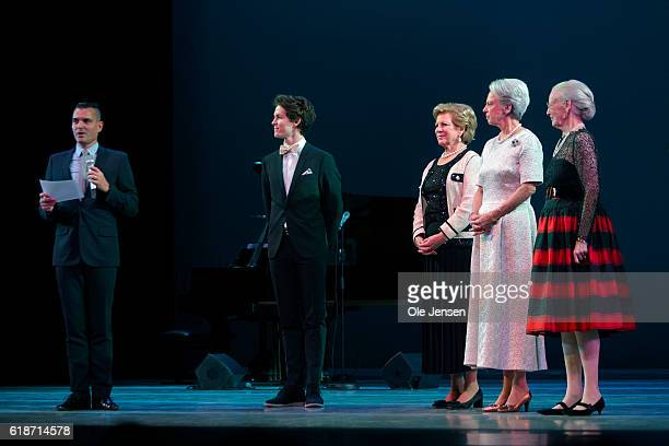 Danish Queen Margrethe and her sisters Princess Bennedikte and Queen AnneMarie of Greece is on the stage to present late Queen Ingrid's grant to...