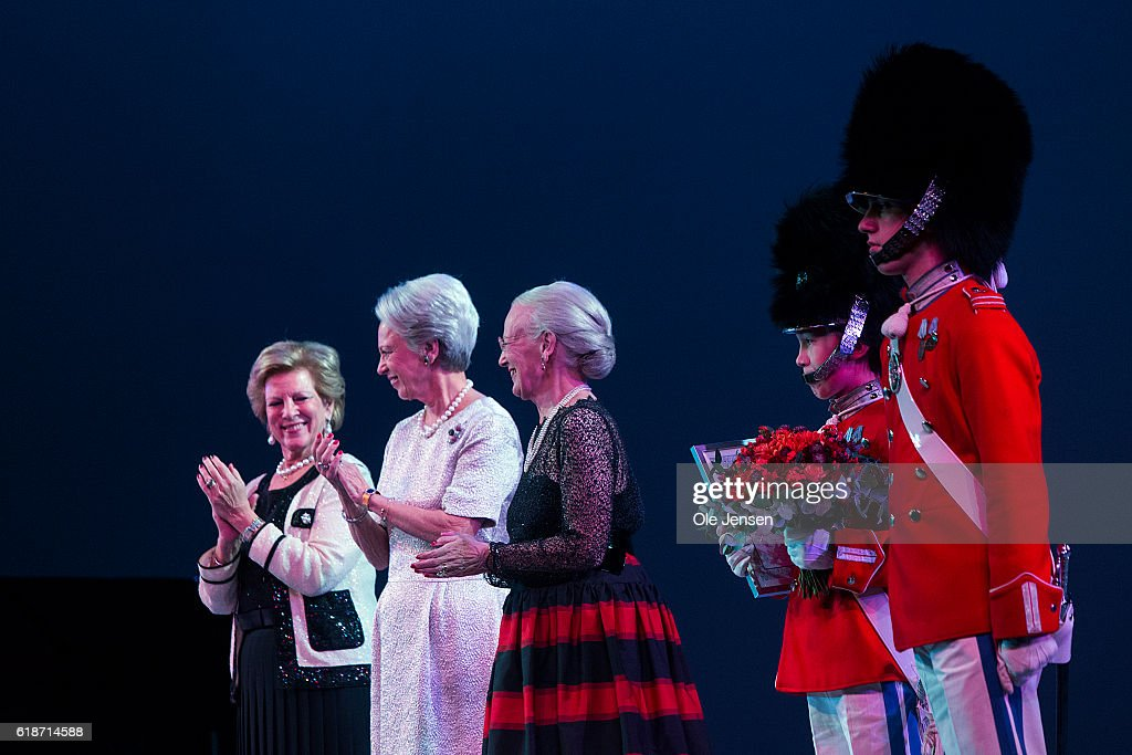 Danish Queen Margrethe (C)) and her sisters, Princess Bennedikte (L, 2nd) and Queen Anne-Marie of Greece (R) during presentation of late Queen Ingriid's award to two younbg artists within dance and music at the Alvin Ailey's American Dance Theater performance in the Tivoli Concert Hall in Copenhagen on October 27, 2016 in Denmark. The award was presented to ballet dancer Andreas Kaas and jazz singer Sinne Eeg.