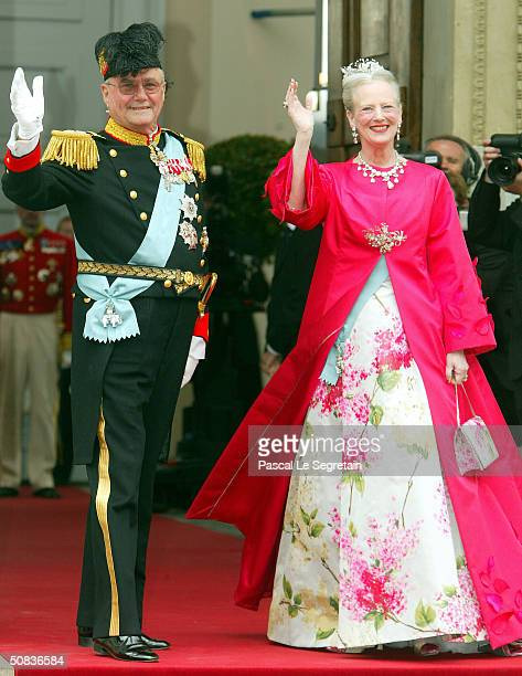 Danish Queen Margrethe II and Prince Henrik arrive to attend the wedding between their son Danish Crown Prince Frederik and Miss Mary Elizabeth...