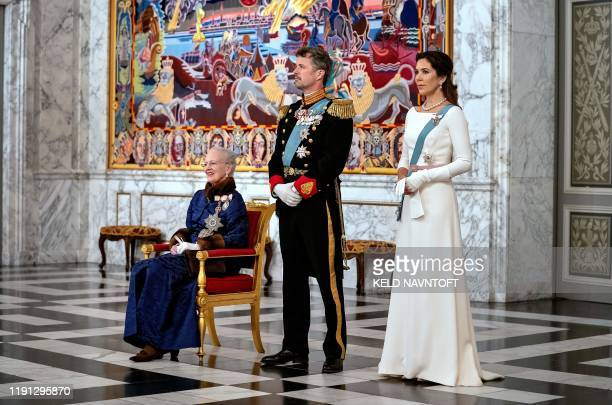Danish Queen Margrethe II Crown Prince Frederik and Crown Princess Mary attend a New Year Reception for the Diplomatic Corps at Christiansborg Castle...