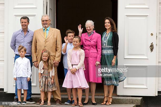 Danish Queen Margrethe relocates the royal couples summer residence to Graasten Slot and appears with the royal famimily at the annual photo call in...