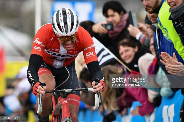 Danish rider Mads Pedersen of Team Trek-Segafredo pedals up the Paterberg hill in Kluisbergen during the 102nd edition of the 'Ronde van Vlaanderen -...