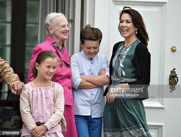 Danish royal house poses on front steps in the inner courtyard for the annual photo session on July 15 2016 at Graasten Castle in Denmark Princess...
