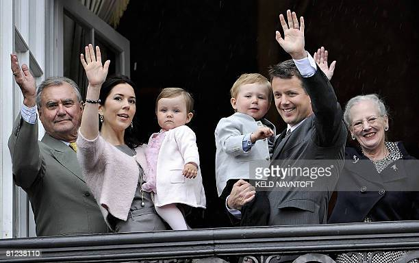 Danish Royals Crown Prince Consort Henrik Princess Mary holding Princess Isabella Prince Christian in the arms of Crown Prince Frederik and Queen...