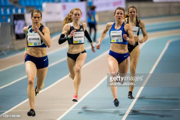 Danish Sara petersen, Belgian Margo Van Puyvelde and Belgian Paulien Couckuyt pictured in action during the IFAM Indoor, IAAF Indoor Tour Bronze...