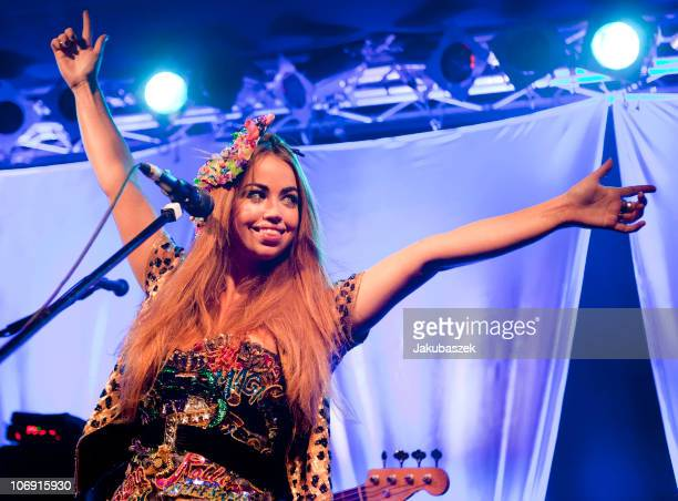 Danish singer Aura Dione performs live during a concert at the Frannz Club on November 16 2010 in Berlin Germany The concert is part of the 365 Days...