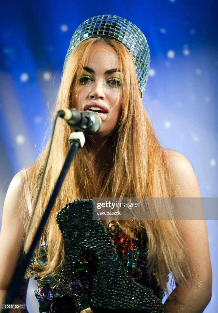 Danish singer Aura Dione performs live during a concert at the Frannz Club on November 16, 2010 in Berlin, Germany. The concert is part of the 365 Days In A Year tour.