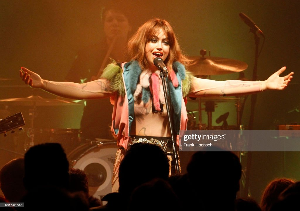 Danish singer Aura Dione performs live during a concert at the Postbahnhof on December 13, 2011 in Berlin, Germany.