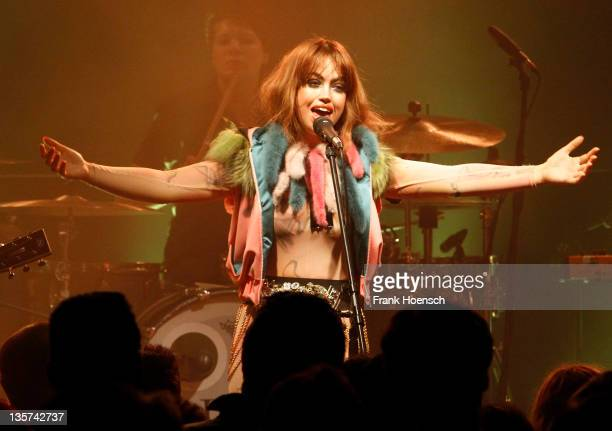Danish singer Aura Dione performs live during a concert at the Postbahnhof on December 13 2011 in Berlin Germany