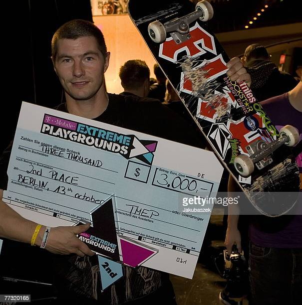 Danish skateboarder Rune Glifberg poses after winning the 2nd place in the skateboarding halfpipe competition at the TMobile Xtreme Playgound event...