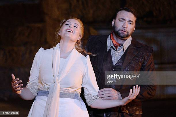 Danish soprano Ann Peterson as Senta and German tenor Endrick Wottrich as Erik perform during a rehearsal of German composer Richard Wagner's opera...