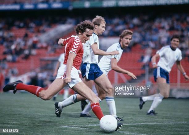 Danish striker Allan Simonsen shoots during the Friendly International between Denmark and Finland in Copenhagen Denmark won 32