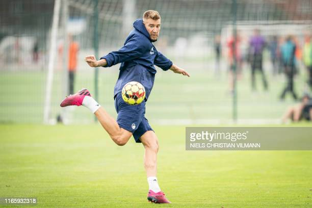 Danish striker Nicklas Bendtner plays the ball during a training session with FC Copenhagen in Copenhagen Denmark on September 4 2019 FC Copenhagen...