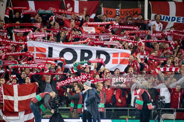Danish supporters pictured during the FIFA World Cup 2018 PlayOff match between Republic of Ireland and Denmark at Aviva Stadium in Dublin Ireland on...
