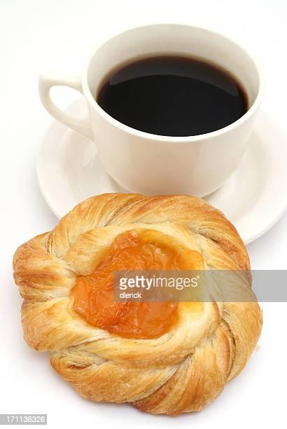 Danish sweet roll and coffee
