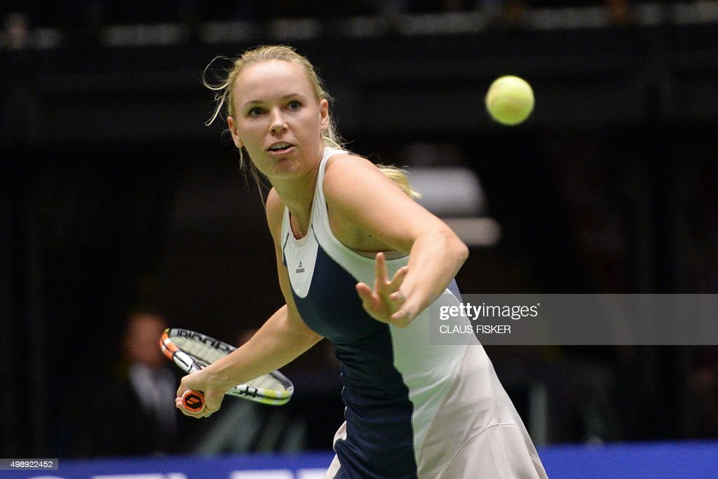 TENNIS-EXHIBITION-DEN-US-WOZNIACKI-WILLIAMS : News Photo
