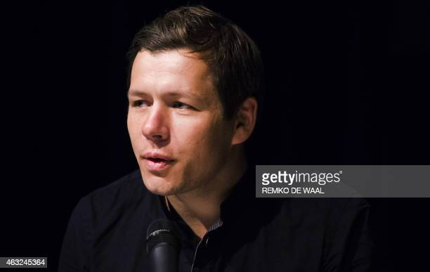 Danish winning photographer Mads Nissen gives a press conference during the 2014 World Press Photo Award event on February 12 2015 in Amsterdam An...