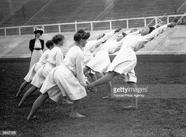 Danish women gymnastics team practising at the 1908 London Olympics