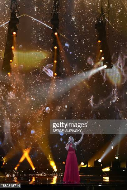 DanishAustralian singer representing Denmark with the song 'Where I am' Anja Nissen performs on stage during the Grand Final rehearsal of Eurovision...